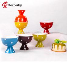 Tazón de fuente de helado de cerámica colorido de encargo