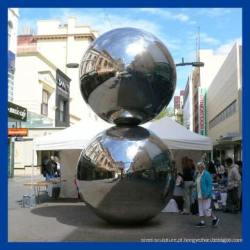 Escultura de esfera de aço inoxidável de polimento de espelho