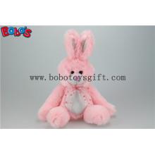 Brinquedo de coelho de animais de pelúcia rosa com braço longo e pés grandes Bos1150