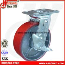 Roulette pivotante PU 6 pouces avec frein