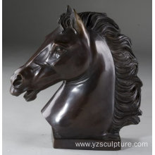 Indoor Decoration Black Sad Bronze Horse Head Statue
