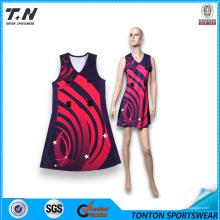 Kundenspezifischer sublimierter Netball Uniform-Sport-Großverkauf