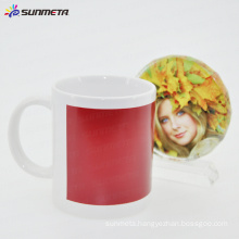 11oz blank magic mug with red patch