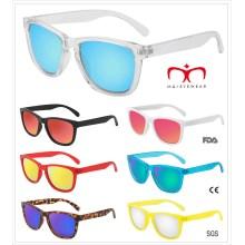 Bunte Mode Kunststoff Sonnenbrille mit Metall Scharnier (MI251219)
