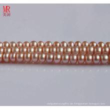 8-9mm rosa Süßwasserperlenstrang, Knopfrund (ES123)