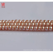 8-9mm brin de perles d'eau douce rose, bouton rond (ES123)