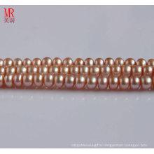 8-9mm Pink Freshwater Pearl Strand, Button Round (ES123)