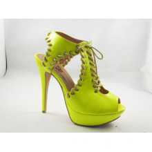 Moda salto alto senhoras chunky sapatos de vestido (hyy03-113)