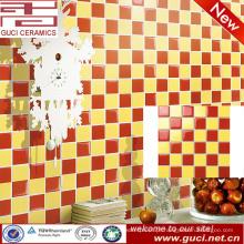 Fornecimento de china vermelho e amarelo banheiro mosaico decorativo olhar telha cerâmica