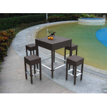 PE Rattan Bar Table and Stools Outdoor Bar Furniture