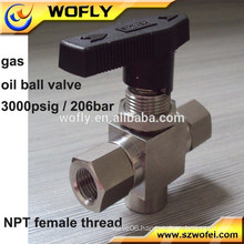 nitrogen oxygen gas oil stainless steel 1/4 3 way ball valve