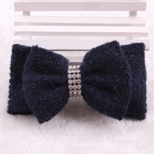 Black Fabric and Crystal Hair Clip Bows