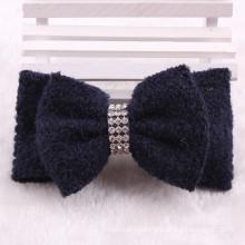 Black Fabric and Crystal Hair Clip Bows