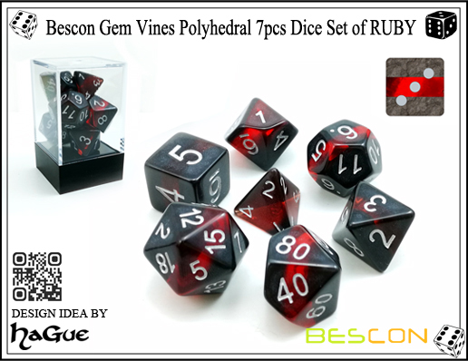 Bescon Gem Vines Polyhedral 7pcs Dice Set of RUBY-1