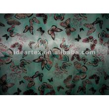 Cetim seda tecido Fake borboleta impressos para o vestido da senhora