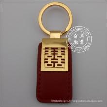 Porte-clés en cuir, porte-clés en métal plaqué or (GZHY-KA-070)