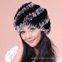 Chapéus e chapéus de Kintted da pele da forma dos chapéus da Senhora Inverno