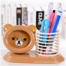 Brown Hand Bass Alarm Clock, High-Quality Plastic Student Desktop Clock