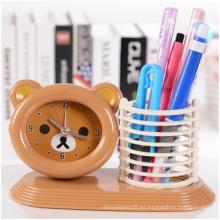 Despertador bajo marrón de la mano, reloj de escritorio plástico del estudiante de alta calidad