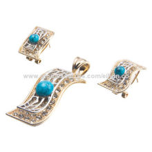 Fashion Alloy Jewelry Set, Including Earrings and Pendant, 18K Gold Plating with Plastic Bead