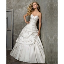 Prinses Ball Gown Sweetheart Cathedral Trein Taffeta Beading Borduren Trouwjurk