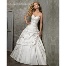 Princess Ball Gown Sweetheart Cathedral Train Taffeta Beading Embroidery Wedding Dress
