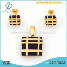 British style ladies handbags design jewelry sets, simple gold and black sets jewelry top selling