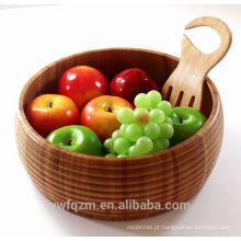Novo design de cuidados de saúde de alta qualidade mão esculpida tigela de salada de madeira de bambu