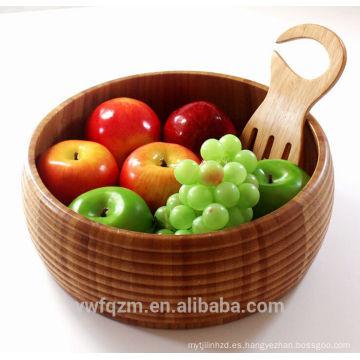 Nuevo diseño de cuidado de la salud de alta calidad tallada a mano ensaladera de madera de bambú