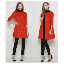 High Quality Winter Long Europen Style Red Women Coat for Winter