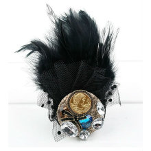 Fashion Black Lace Button Cyrstal Brooch Natural Feather Brooch BH15