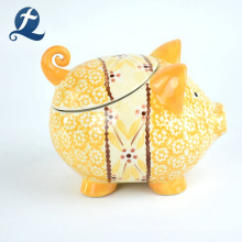 Großhandel individuell bedruckte handgemachte niedliche Piggy Shape Keramik Geldbank