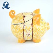 Banco de dinero de cerámica lindo hecho a mano impreso al por mayor de la forma linda guarra