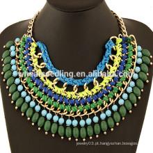 Mais recente design handmade pérolas colar nigéria grânulos jóia colar
