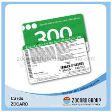 Cartão pré-pago com número seguro de PIN