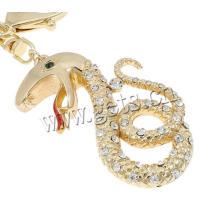 Schlange Schlüsselkette Gold Rhinestone Zink-Legierung Schlüsselkette mit Eisenhummer Verschluss