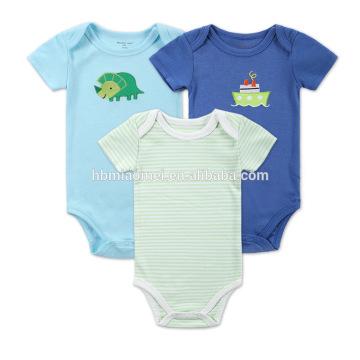 Nouveau-né bébé respirant coton vert bleu Onesie enfants gros Body et Jumpsuit plain barboteuse