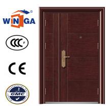 Madeira Brown Color Grande tamanho Steel Security Iron Door (W-SZ-02)