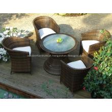 Alumínio exterior redonda mesa de jantar e cadeiras