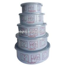 5 pc printed enamel bowl & carbon steel with enamel coating eating bowl