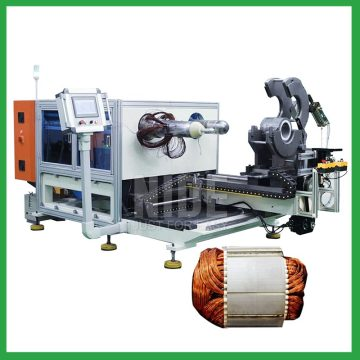 Automatic submersible motor stator coil inserting and expanding machine