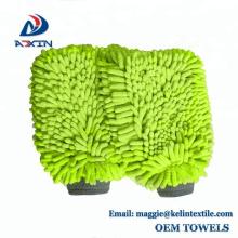 Mitaines de lavage de voiture imperméables vert lime Chenille microfibre Premium grattoir-gant de nettoyage