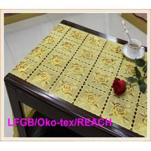 Tabela longa Placemat do laço do ouro / prata do vinil de 50cm