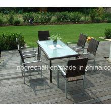 Pátio de jardim de alumínio PE Rattan ao ar livre Dining Chair Set