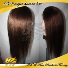 100% natural cabelo humano mão-amarrado laço completo peruano luz Yaki peruca
