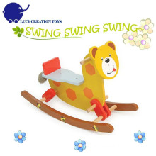 Children Happy Bear Wooden Rocking Horse Toy