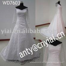 WD7603 2014 moslemische Braut lange Hülse Spitze Brautkleider