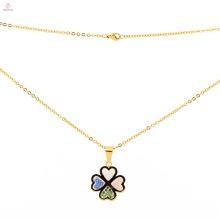 Hochwertiger Edelstahl neue Goldkette Design Klee Anhänger Halskette für Männer