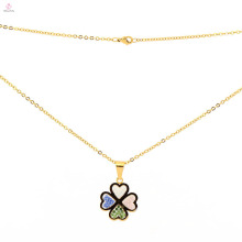 High quality stainless steel new gold chain design clover pendant necklace for men