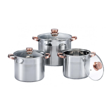 Stainless steel stock pot with golden anti-scald handle